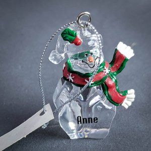 Anne Christmas Ornament Personalized Clear Snowman